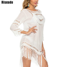 Riseado Tassel Long Beach Dress Sexy Cover Ups Tunic Beach Wear Long sleeved Swimsuits Women White Hollow Bathing Suits 2020