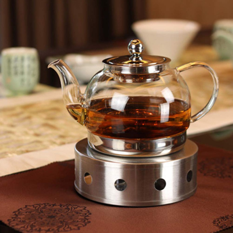 Warm Tea Milk Coffee Teapot Heating Candle Base Warm Tea Heater Stove Stainless Steel With Wax For Camping Household Hollow