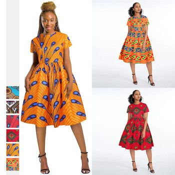 2020 Summer Sexy African Women Printing Polyester Knee-length Dress African Clothing African Clothes for Women image