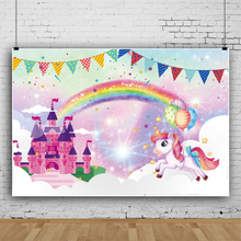 Laeacco Watercolor Fantasy Rainbow Castle Unicorn Bunting Flags Birthday Party Baby Shower Photo Backdrop Photography Backgroud