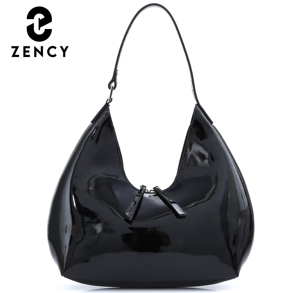Zency Bags Lacquer Leather Handbag 2021 New Fashion Design Winter Women Shoulder Bag Large Capacity Female Top-handle Bag Black