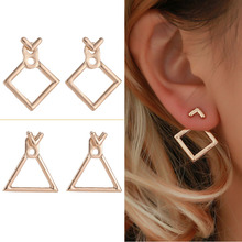 2019 gold/silver Korean Trendy Cute drop Earrings Jewellery Geometric Square V Word Stud Earrings For Women Fashion Jewelry