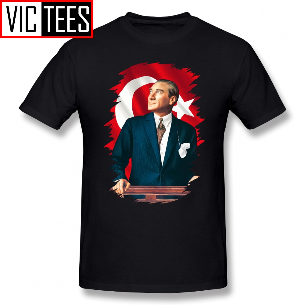 Mens Ataturk T Shirts Mustafa Kemal Ataturk T-Shirt Summer Plus Size Tee Shirt 100% Cotton Male Cute Graphic Tshirt