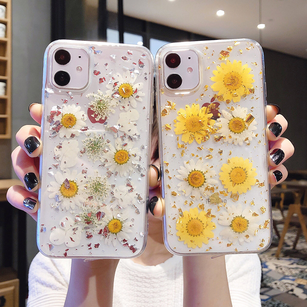 LOVECOM Actual Dried Flowers Phone Case For IPhone 11 Pro Max XR XS Max 7 8 6 6S Plus X Soft Epoxy Platinum Silver Back Cover