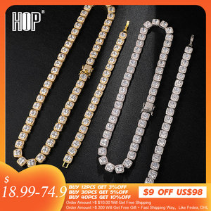 Hip Hop 1set 10MM Bling Cubic Zirconia Iced Out Bracelet Necklace Geometric Square AAA CZ Stone Tennis Chain For Men Jewelry