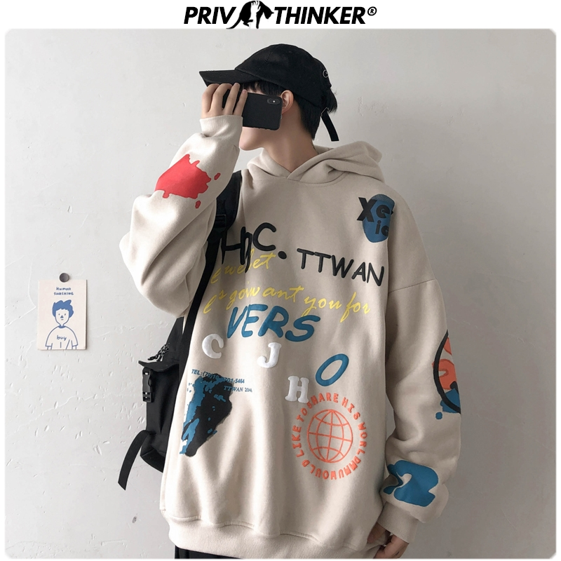 Privathinker Men Fashion Hip Hop Winter Printed Hooded Sweatshirts Mens Korean Hoodies Male 2020 Thicken Warm Clothes Oversize