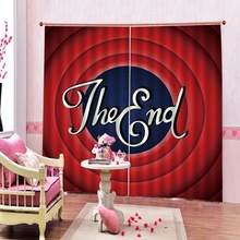 European style 3D Curtain Photo Digital print Drapes for English alphabet living room bedroom(China)