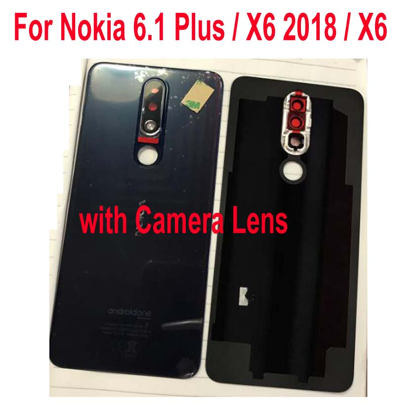 Original Battery Back Cover For <font><b>Nokia</b></font> <font><b>6.1</b></font> Plus / X6 2018 TA-1099 Housing Door Rear <font><b>Case</b></font> with Adhesive + Camera Frame <font><b>Glass</b></font> Lens image