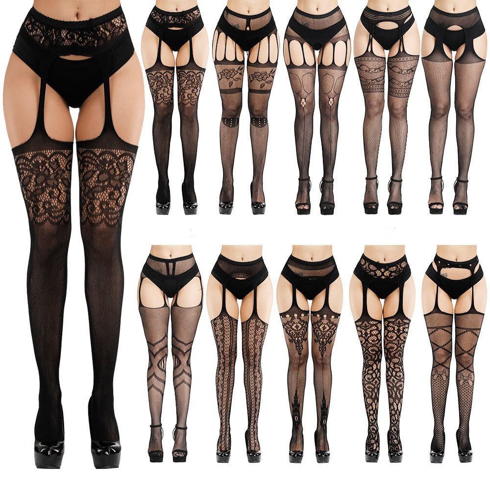 New Arrival 2019 Solid Stockings Women Sexy Thigh High Fishnet Nylon Long Socks Sex Belt Standard Over Knee Socks Sexy Lingerie