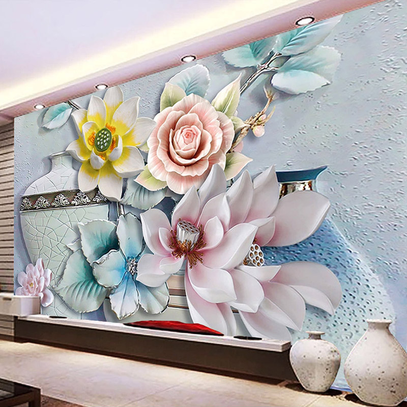 Custom Mural Wallpaper Modern 3D Embossed Vase Flowers TV Background Wall Painting Wall Papers Home Decor Living Room Bedroom