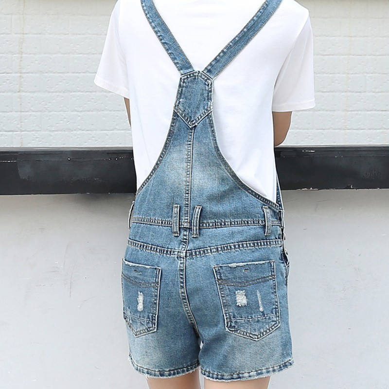 Women Summer Casual Denim Overalls Cowboy Casual Hole Ripped Suspender Short Jeans Holiday Parent-child Beach Shorts Rompers