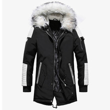 цена на Brand New Winter Jacket Men Thicken Warm Parkas Casual Long Outwear Hooded Collar Jackets and Coats Men veste homme Wholesale