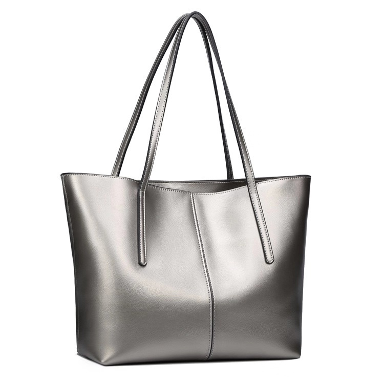 Cowhide women's bag leather large bag fashion wild simple shopping bag large capacity handbag bag