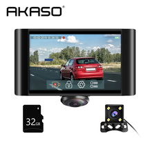 цена на AKASO 360° Car DVR Dual Lens Dash Camera Front and Rear Dashboard Video Recorder with Touch Screen G-Sensor Parking Monitor Cam