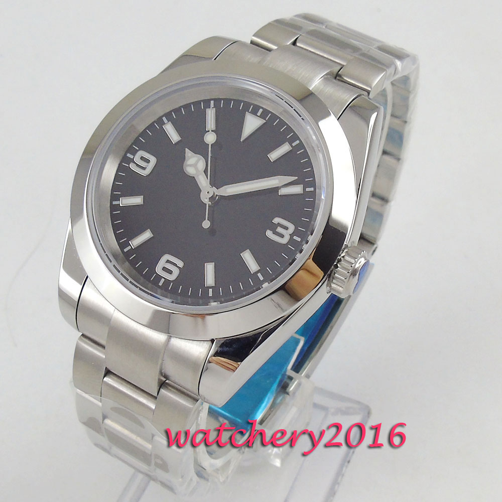 40mm Sterile Black Dial Luminous Hands Full Stainless Steel Automatic Movement Men's Watch