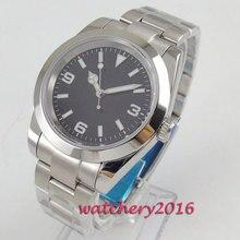 цена Polished Parnis 40mm black dial sapphire glass date numbers automatic Men's Watch  онлайн в 2017 году