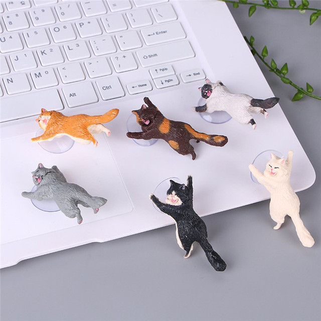 1pc Cat Figurine Miniature Cat Sucker Design Phone Holder mini fairy garden Cartoon statue craft Home Car Decorative 3