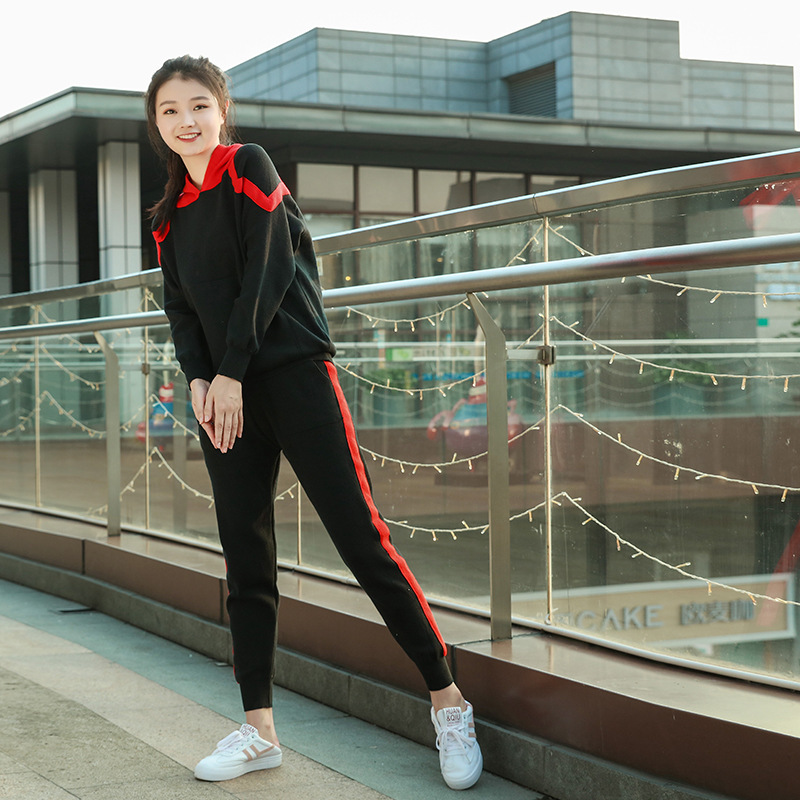 Sportswear Set Casual Spring And Autumn Hooded Tops WOMEN'S Pants New Style 2020 Two-Piece Set