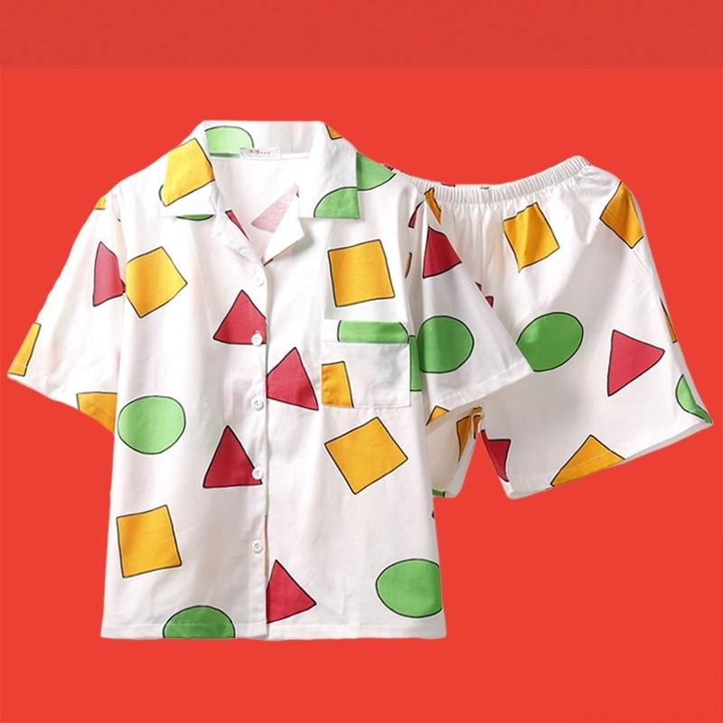 Cute Pajama Sets Women Men Big Size Print Geometric 3 Pieces Set Tops Short Sleeve + Shorts Elastic Waist + Blinder Loose S98191