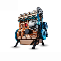 Four cylinder Inline Gasoline Engine Model Building Kits Full Metal Assembled Mini Engine Model Teaching mold toy kits Y