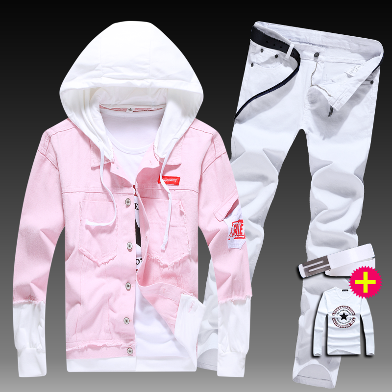 New Mens Slim Fit Jacket Pencil Pants 2pcs Set Hooded Coat Jeans Trousers Letters Printed Long Sleeve Jackets E42