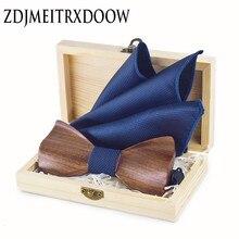 3D muszka drewniana męska muszki ślubne z drewnianym pudełku spinki do mankietów broszka Casual Luxury Vintage dla mężczyzn Corbatas Para Hombre