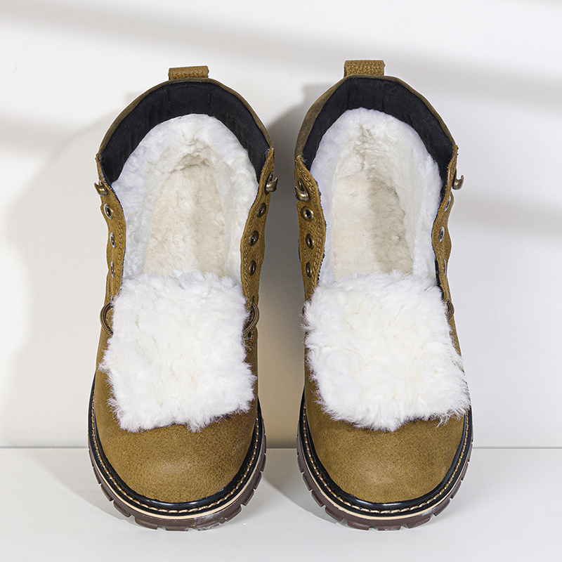 Natural Wool Winter Boots Men Russian Style Full Grain Leather Sheep Fur Handmade Winter Shoes #YM8988