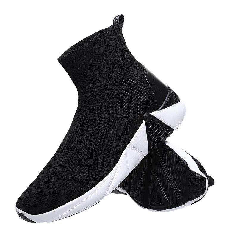 Femmes chaussette bottes 2019 nouveau Stretch tissu chaussures sans lacet bottines femmes chaussettes bottes pour femme noir rose vert chaussons