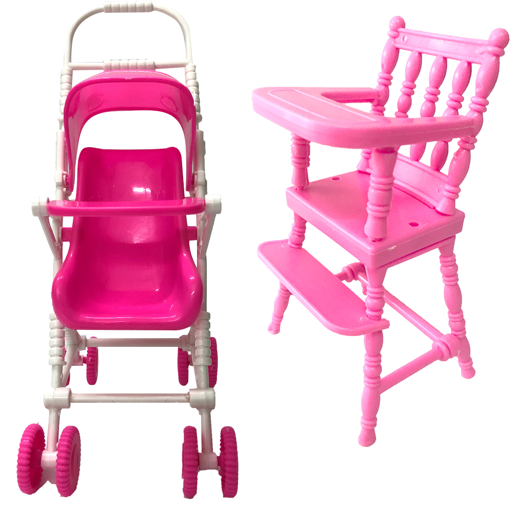 NK Two Set Dll Accessories Pink Baby Stroller Baby Chair Kindergarten Toys Mini Furniture For Kelly 1:12 Doll  DIY Toys 8X DZ