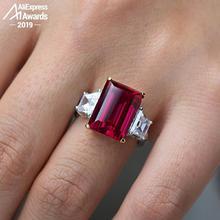 14*10Mm Ngọc Lục Bảo Cắt S925 Nhẫn Bạc SONA Kim Cương Đá Citrine Sapphire Mặt Đá Ruby