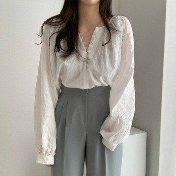 Jlong Fashion Temperament Long Sleeve Thin Shirt Women Chic Solid Color Blouse Spring Autumn Loose Shirts Tops 1