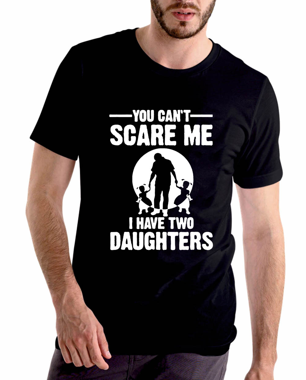 You Can't Scare Me I Have Two Daughter Men Summer Funny T-shirt Dad Fathers Day Gift Print Men's T Shirt Short Sleeve Tops Tees