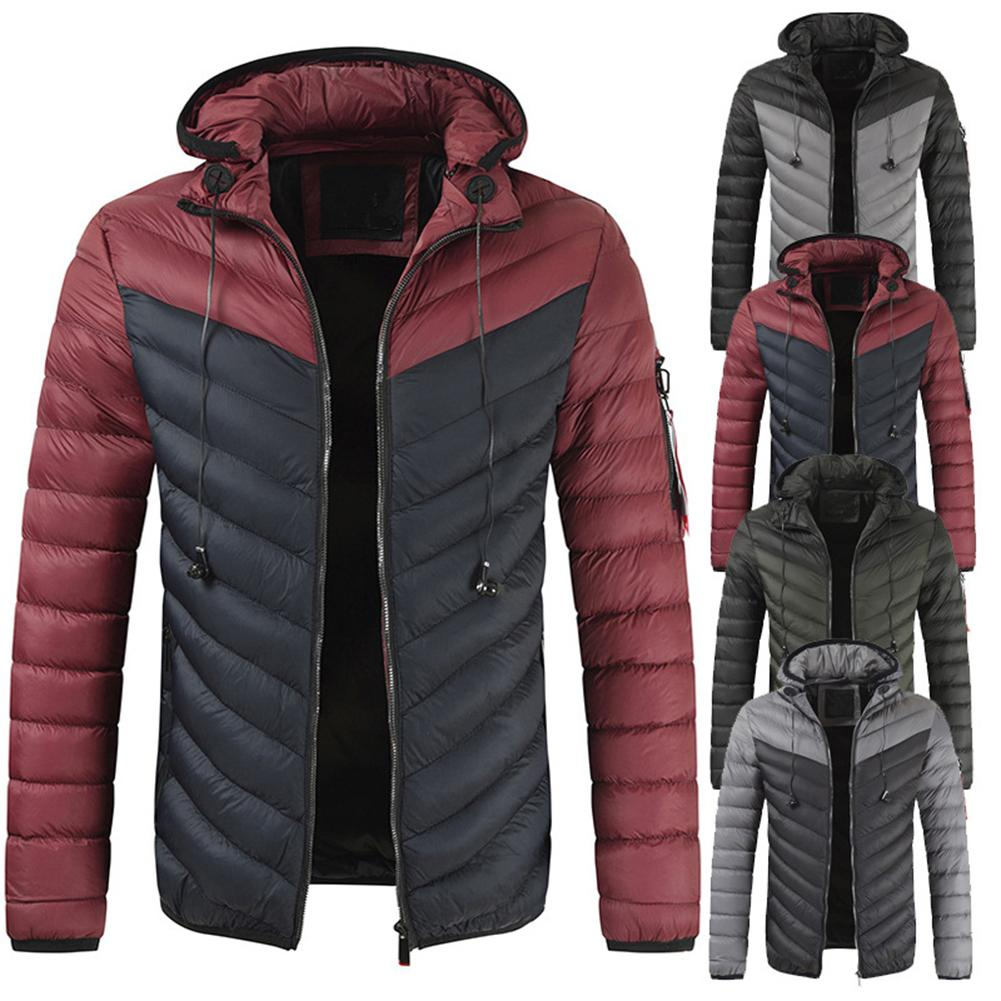 Autumn Winter Parkas Coat Men Long Sleeve Men's Coats Jackets Earphone Holes Warm Parkas Hooded Down Coat Parka Jackets