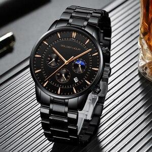 Image 2 - GOLDENHOUR luksusowa marka zegarki męskie pełny stalowy zegarek biznesowy wodoodporny zegarek kwarcowy męski męski zegar Relogio Masculino