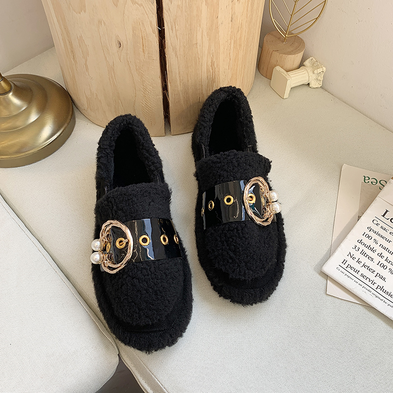 Women's Winter Flat Shoes Korean Suede Short Plush Lining Ladies Casual Sneakers Rubber Non-slip Bottom Winter Warm Womenshoes 52