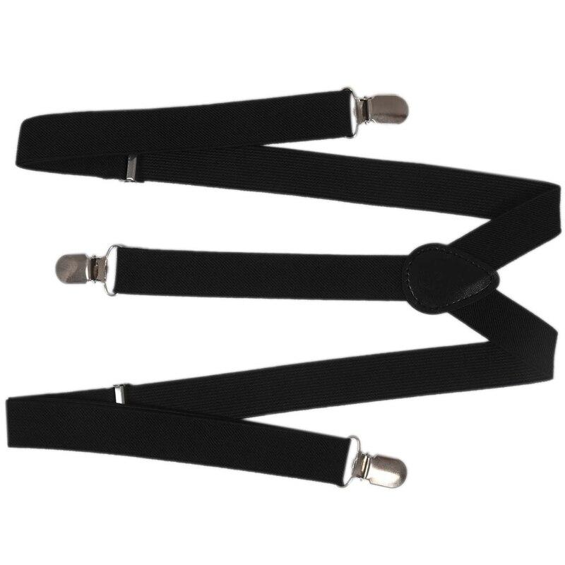 Lady Woman Adjustable Metal Clamp Elastic Suspenders Braces - Black