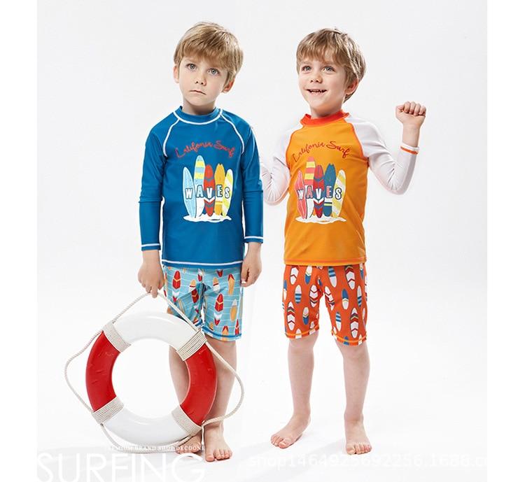 CHILDREN'S Swimwear Split BOY'S Baby Long Sleeve Trousers Sun-resistant Big Boy Diving Suit Quick-Dry Warm Hot Springs Swimwear
