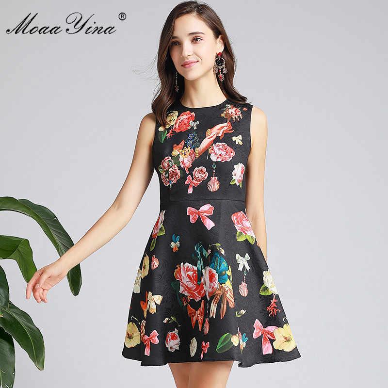 MoaaYina модное дизайнерское платье Весна Лето Женское платье без рукавов Бисероплетение цветочный принт элегантное Пышное Бальное платье платья