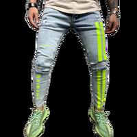 Jeans Men Skinny Striped Zipper Denim Vintage Hip Hop  1