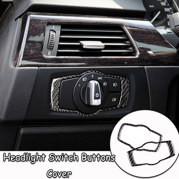 For BMW E90 E92 E93 2008-2012 Interior Carbon Fiber Headlight Switch Buttons Cover Trim Car Styling Stickers 3 Series Accessorie image