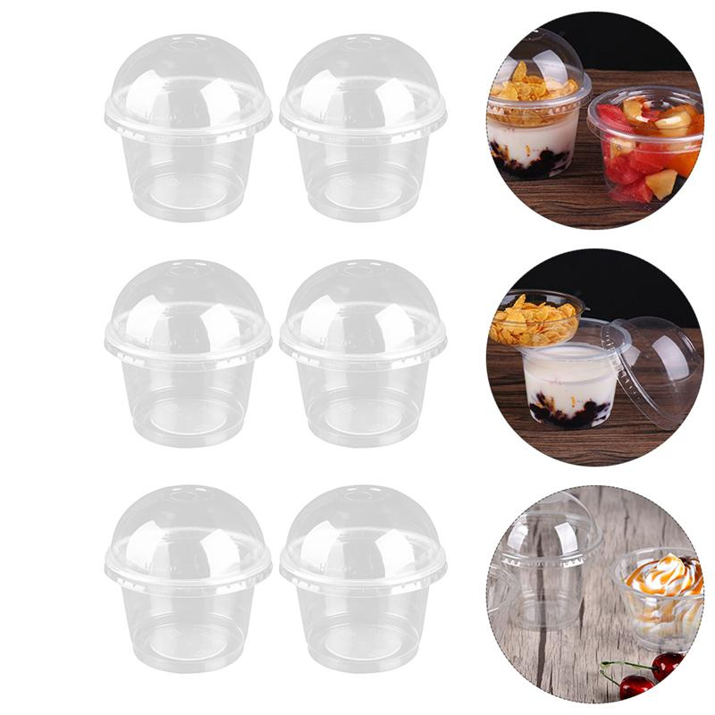 50pcs 250ml Disposable Dessert Cups Clear Salad Cups Dessert Cups with Cover