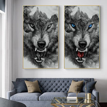 Современные парусиновые принты животные Горный Лев волк постеры