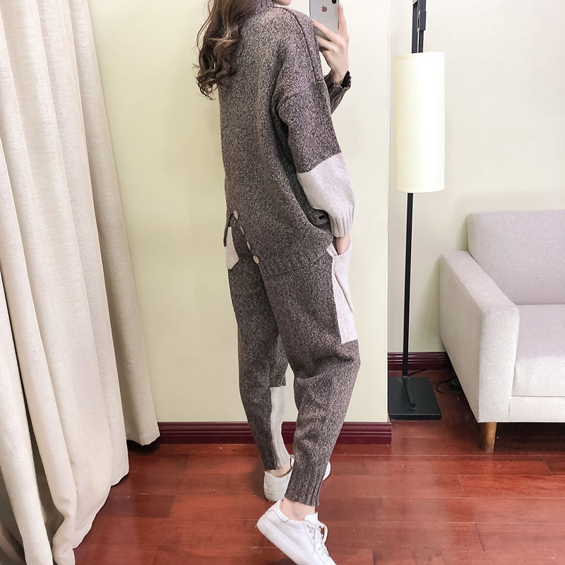 2019 Real Full New Casual Knitted Suit Female Autumn And Winter Fashion Hit Color Turtleneck Two-piece Women Harem Pants Tide
