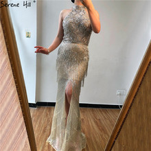 Mermaid Tassel Luxury Halter Rhinestones Prom Dress Sleeveless Mermaid Slit Robe de Soiree Serene Hill DLA60776