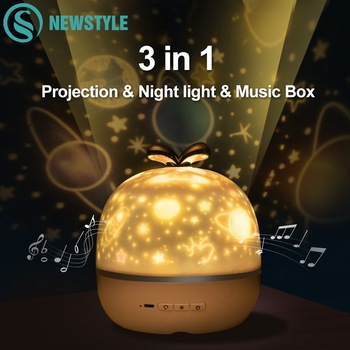 Music Projector Night Light With BT Speaker Chargeable Universe Starry Sky Rotate LED Lamp Colorful Flashing Star Kids Baby Gift - discount item  35% OFF Night Lights