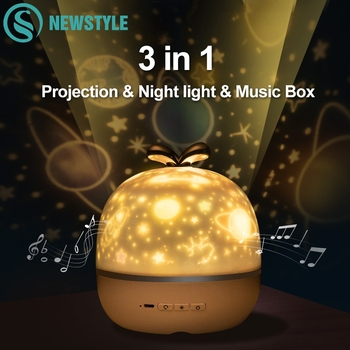 Music Projector Night Light With BT Speaker Chargeable Universe Starry Sky Rotate LED Lamp Colorful Flashing Star Kids Baby Gift