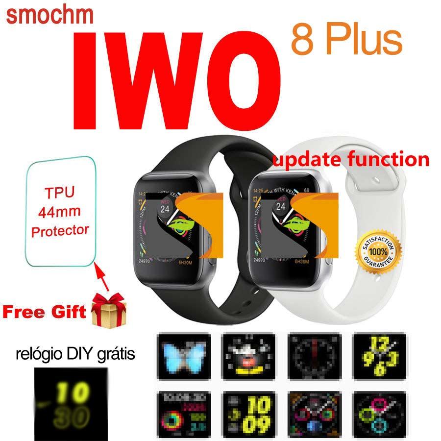 Smochm IWO 8 Plus 1:1 MTK2502C Wireless Charger Bluetooth Smart Watch  Update IWO 9 IWO8 Smartwatch 44MM Series 4 for Apple Watch