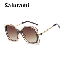 Chic Twist Legs Alloy Square Sunglasses For Women 2020 New Fashion Oversized Clear Frame Sun Glassesd Female Luxury Brand Shades(China)