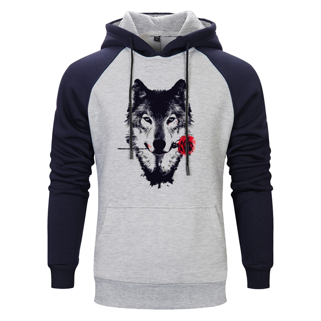 Wolf With Roses Hooded Sweatshirts Mens Autumn Winter Fleece Casual Tracksuits Hoody 2020 Sportswear Hooded Hip Hop Streetwear