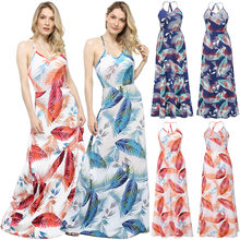 Summer Women Dress Sleeveless Sexy Straps Print Color Elegant Fashion Bohemian Backless Long Female Vestido Beach Style C2553
